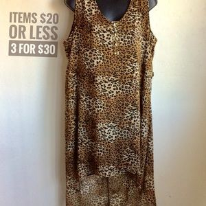 Leopard Print Long High Low Top Size 2X (Libian)